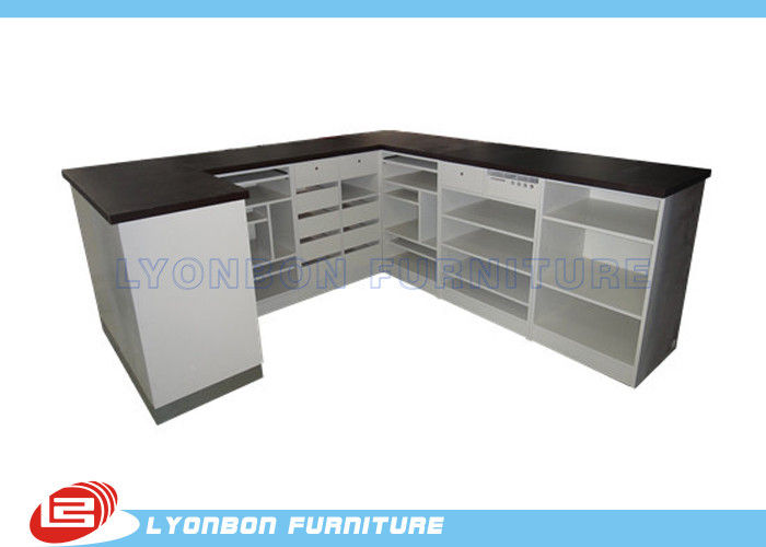 Unique Big Size Black / White Shop Cash Counter Table MDF With Multi Layers