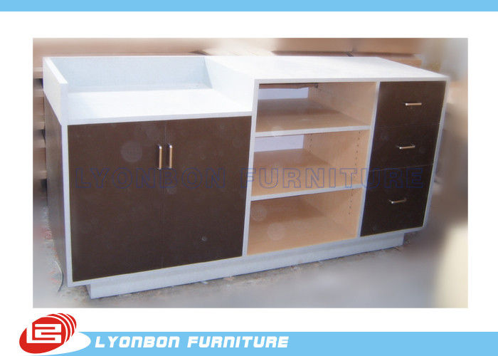 MDF Laminated Shop Cash Counter With Drawers , Common Style Retail Desk Counter