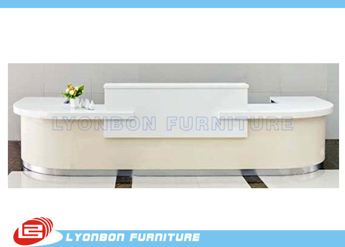 White MDF Wood Reception Desk For Exhibition Help Center , 5000mm * 2800mm * 1050mm